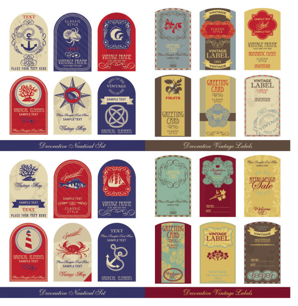 Old-fashioned tag sets - vector